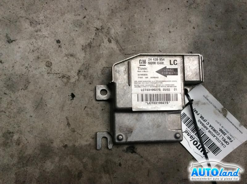 Calculator Airbag OPEL CORSA C (F08,F68) 2000-2018 Cod 24439954